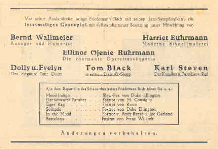 Programs showing Harriet and her sister Eleanore appearing together