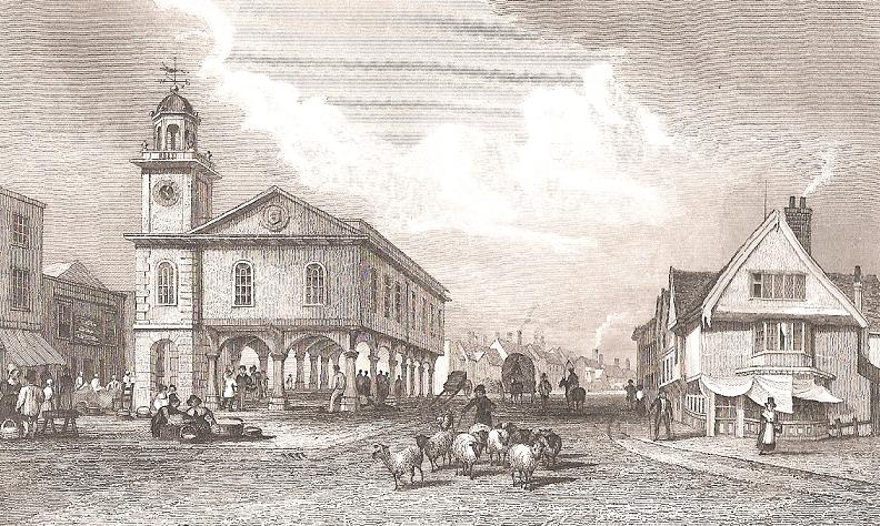 The old  Guildhall in Faversham, from a print published in 1830.