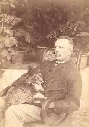 With his dog Tippy, 3rd September 1888, Jeypore.